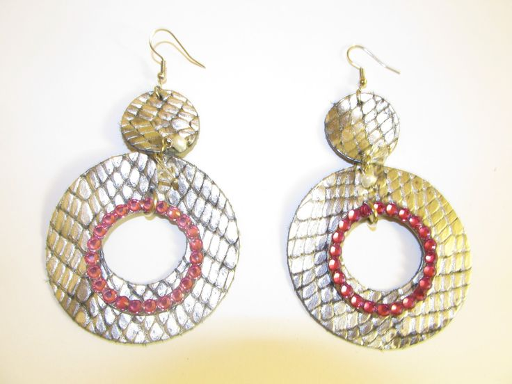 Handmade leather earrings (1 pair)  Made with black/silver leather, metal hoop with crystals and semiprecious stones.