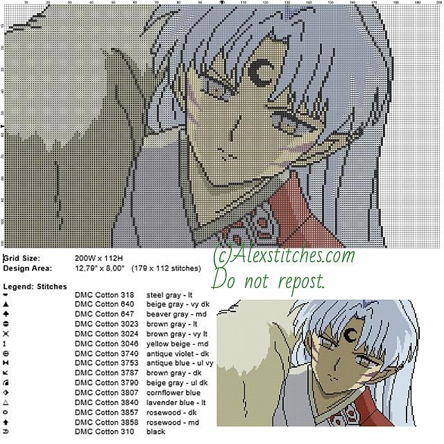 Sesshomaru Inuyasha free cross stitch pattern 200x115 15 colors