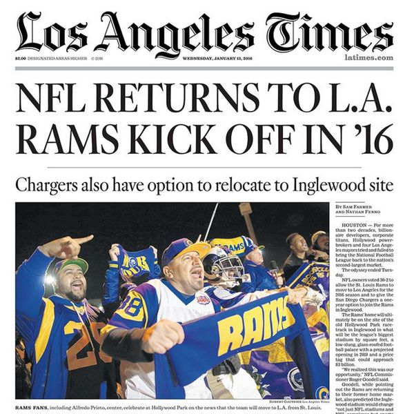 "NFL & owners approve ""OFFICIAL NOW"" Rams move-back to Los Angeles ""LA Rams"" once again!!! (January 12, 2016) Tue - Posted 1.17.16 Sun"