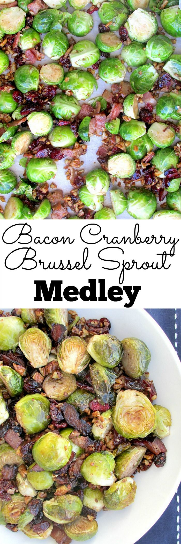 Bacon Cranberry Brussel Sprout Medley - This amazing dish is very easy to throw together, and it has a great combination of flavors. Savory bacon, sweet/tart cranberries, and a hint of orange zest! It can be our nod to greens at the Thanksgiving dinner table! | louloubiscuit.com