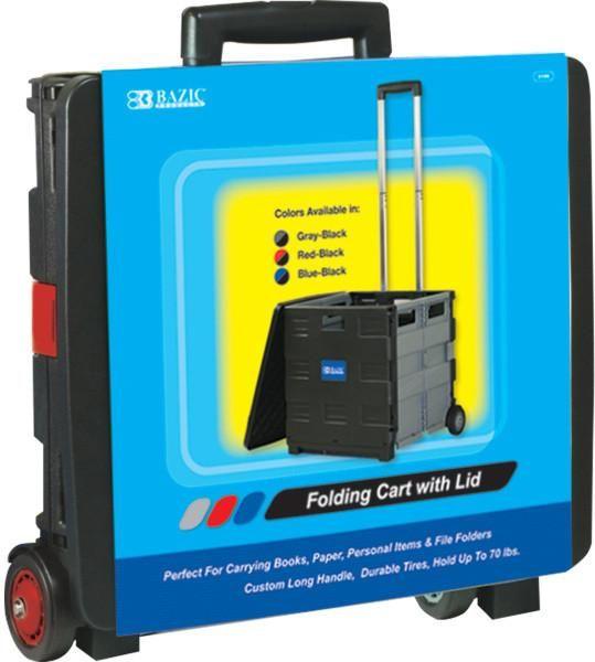 "BAZIC 16""X18""X15"" Red Folding Cart on Wheels w/Lid Cover - 3 Units"
