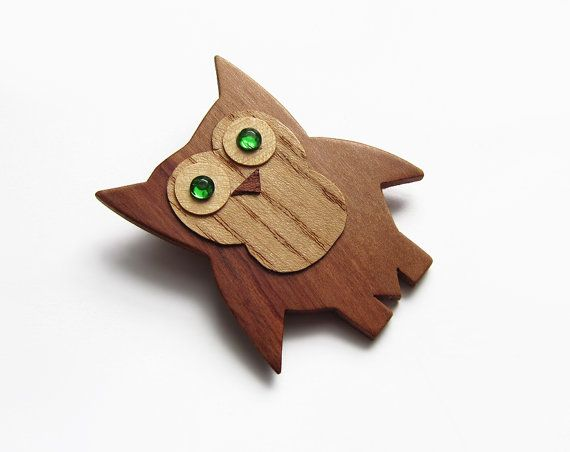 Wooden brooch owl brooch brooch cherry wood by forEVAhairforks #brooch #woodenbrooch #owlbrooch