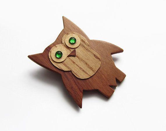 Wooden brooch owl brooch brooch cherry wood by forEVAhairforks #brooch #woodenbrooch #owlbrooch