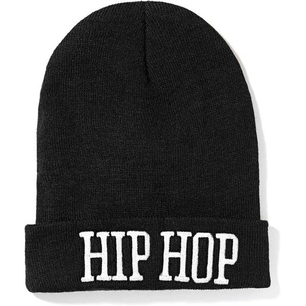 Hip Hop Hooray Beanie (£11) ❤ liked on Polyvore featuring accessories, hats, beanies, headwear, hip hop, black beanie cap, white beanie hat, black beanie hat, stitch hat and white hat