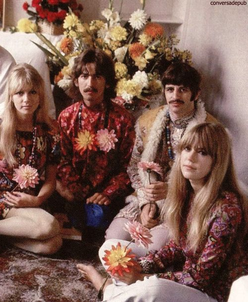 Pattie Boyd, George Harrison, Ringo Starr & Jenny Boyd (I think, doesn't look like Mareen to me) in India.