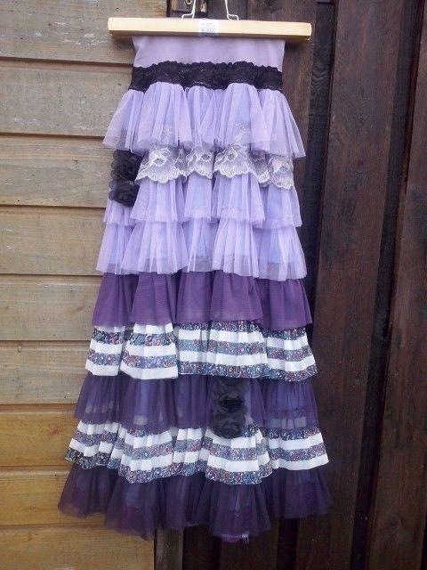Little girl long ruffled skirt