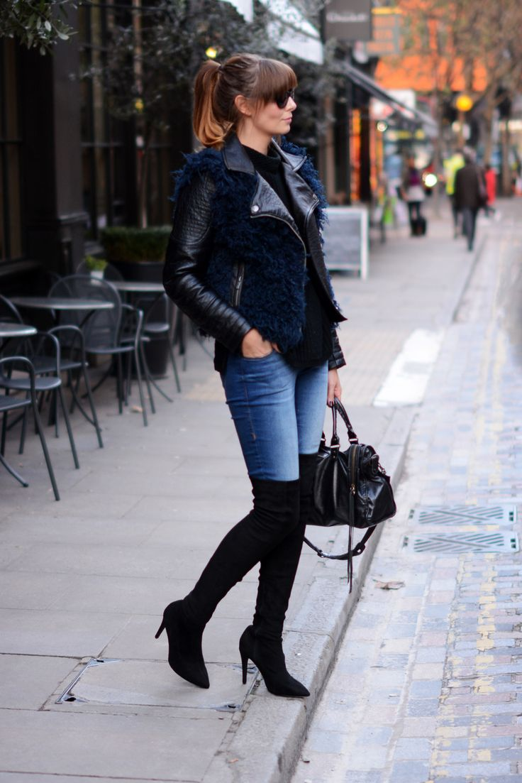 Navy and black biker jacket, skinny jeans, black OTK thigh high ...