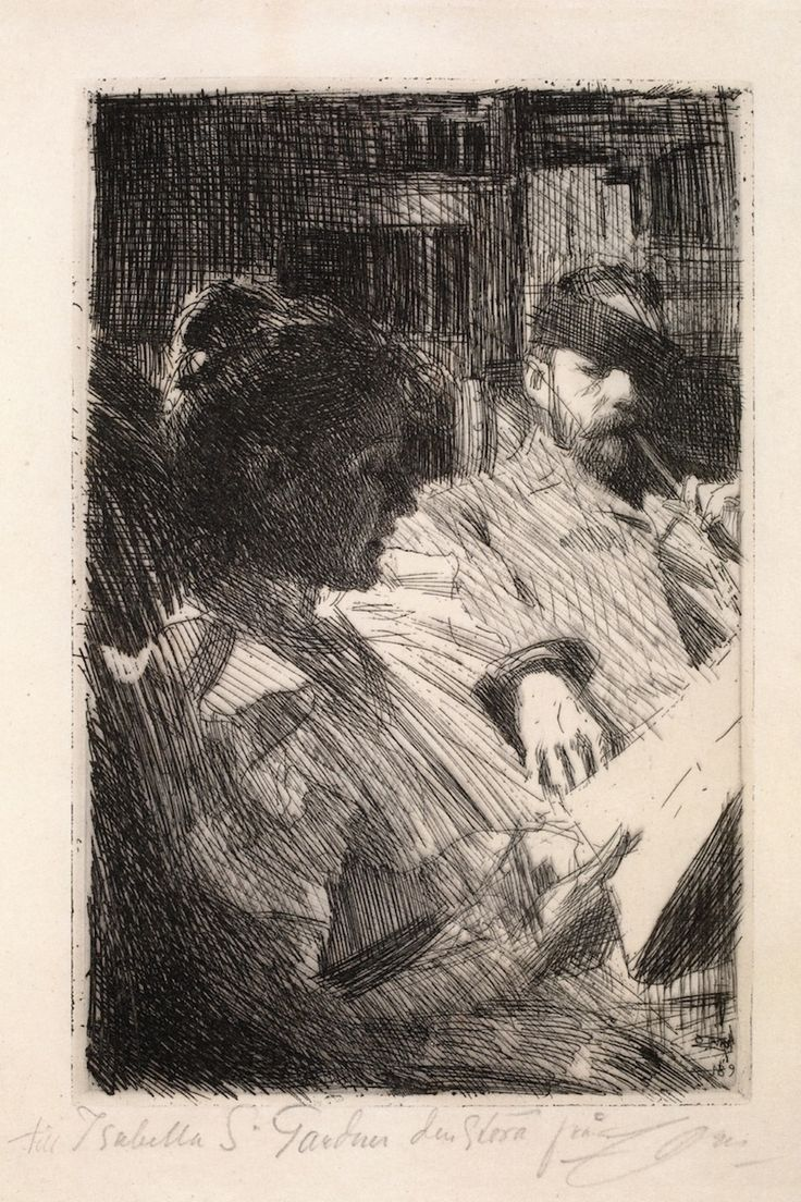 The Athenaeum - Reading (Mr. and Mrs. Charles Deering) (Anders Zorn - )