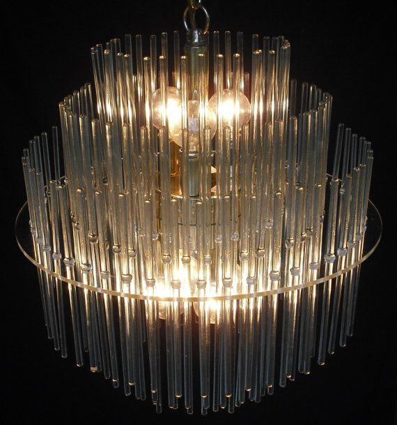 Lightolier Sciolari Three Tier Glass Rod ChandelierBeautiful Vintage  Lightolier Sciolari Three Tier Chandelier. 136 Glass