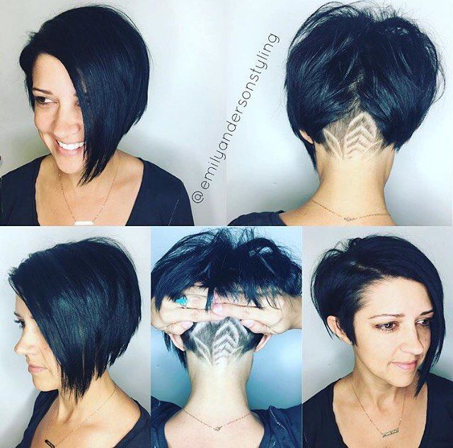 Shaved Nape Asymmetrical Bob Cut  Hair By @emilyandersonstyling  #UCFeed…