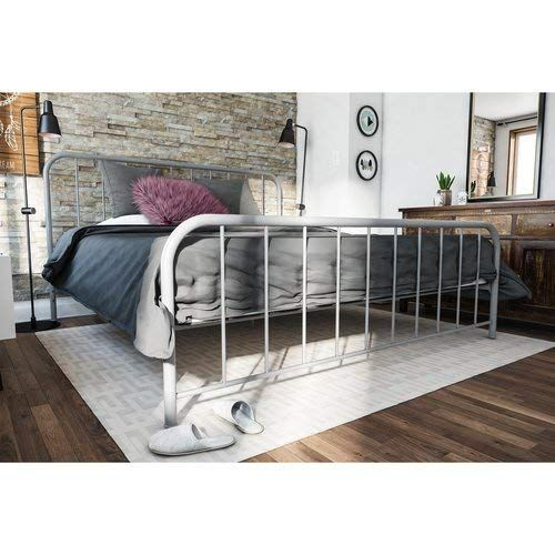 Classic Metal Bed King Gray Surdy Bed Frame With Metal Slats Metal