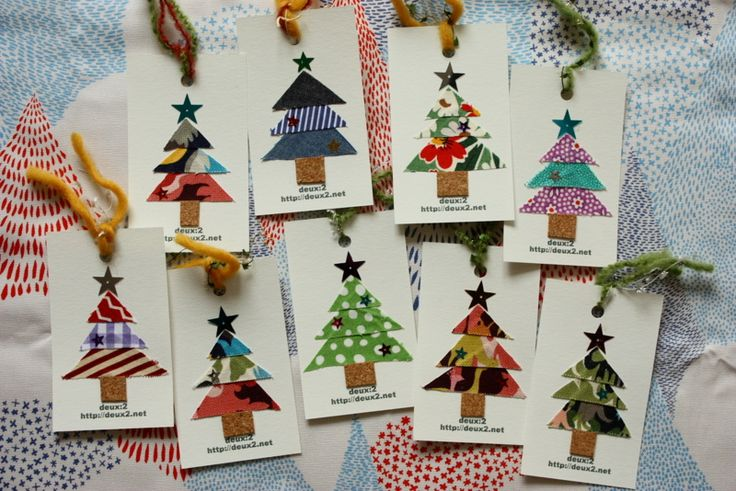 Fabric Scrap Christmas Trees, perfect for gift tags or even larger holiday cards.