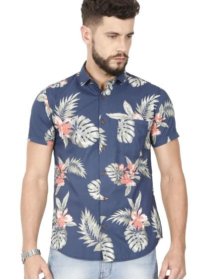 2f3434a71 Blue Half Sleeve Casual Printed Shirt | Only on shubham800.wooplr.com |  Best Shirts Online