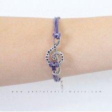 Single G Clef 5 Bracelet - Purple