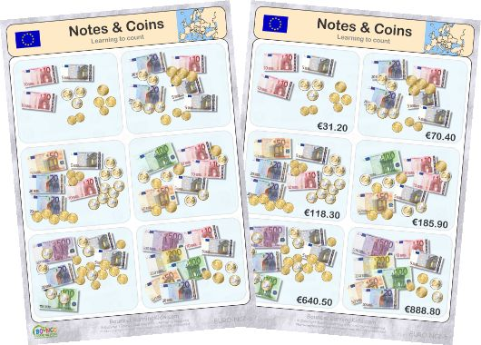 Learn to recognise and count EURO banknotes & coins - counting banknotes & coins 2