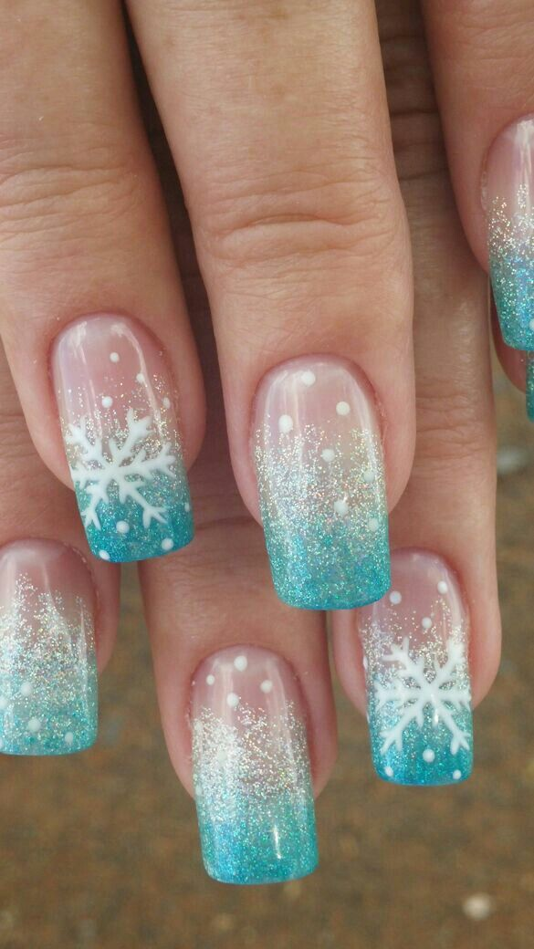 Pure Bliss Salon Turquoise Snowflake nail art