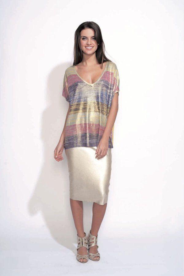 T-shirt large en maille brillant à rayures Odemai sur cpourl.fr - CpourL