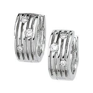 GemAffair  Diamond Earrings - 14k White Gold Hoops 1/5 Cttw  Price: $639.99