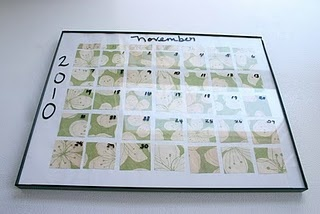 Homemade calendar, easy