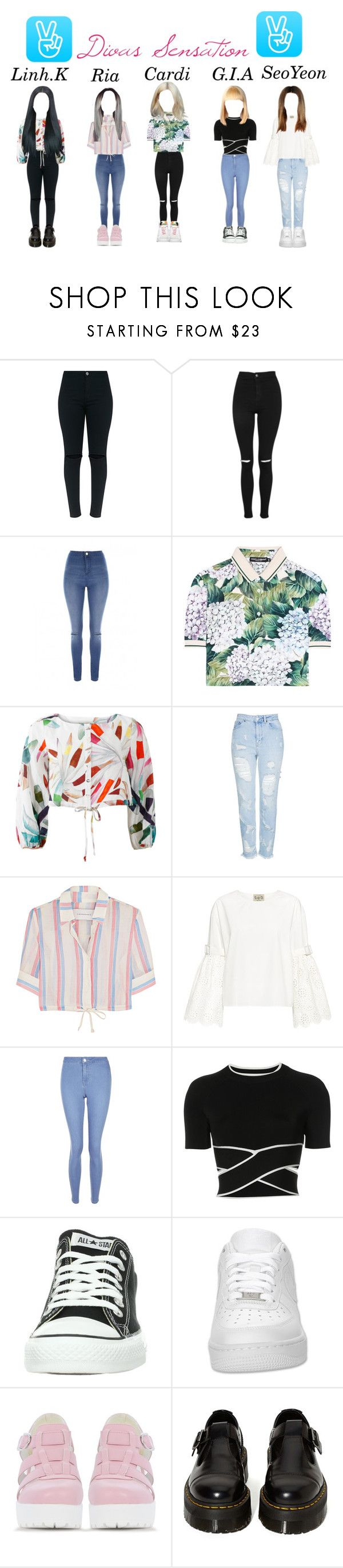 """""""Divas Sensation V-Live streaming"""" by ygentertaiment ❤ liked on Polyvore featuring Topshop, Jane Norman, Dolce&Gabbana, Mara Hoffman, Solid & Striped, Sea, New York, New Look, T By Alexander Wang, Converse and NIKE"""