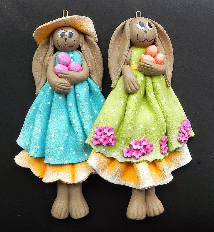 Decokuferek - rękodzieło artystyczne, masa solna, papierowa wiklina, decoupage: Zajaczki wielkanocne ...