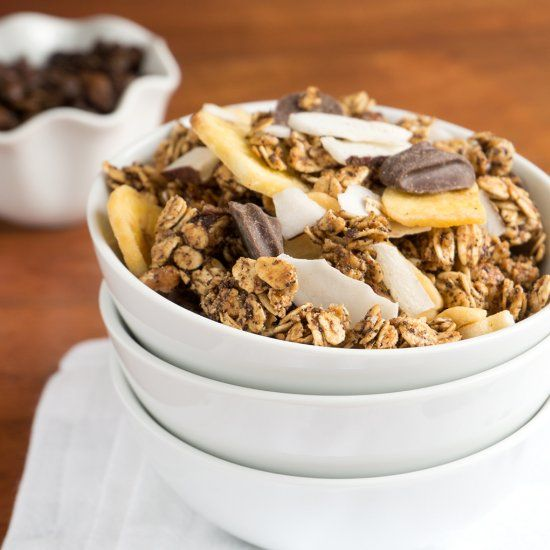 Have a bowl of Toasted Georgia Pecan Granola with your morning coffee! Coconut, Banana, Chocolate, Pecans + Coffee for a delicious treat!