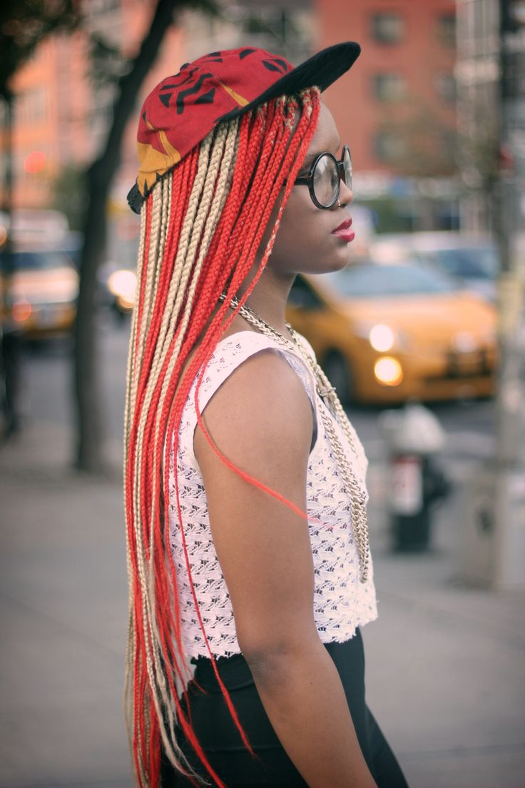 Super Long Micro Braids In Blonde And Red Best Of Braids