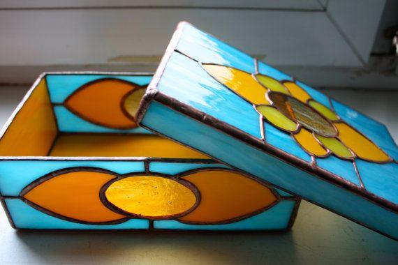 Beautiful Oriental Stained Glass handmade Box от Levantese на Etsy