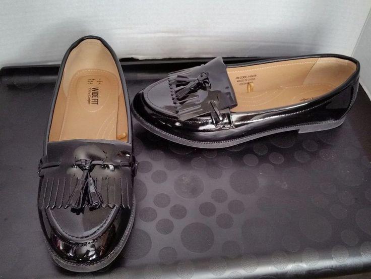 Wide Fit Loafer Black Patent Shoes Womens 9 Tassel fringe Shiny Slip on comfort #WideFit #LoafersMoccasins #Casual