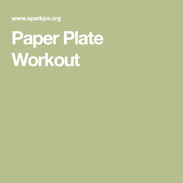 Paper Plate Workout