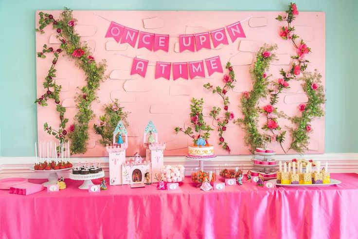 Gorgeous Disney Princess birthday party! See more party planning ideas at CatchMyParty.com!