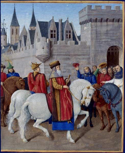 Entrée de l'empereur Charles IV à Cambrai  Grandes Chroniques de France, enluminées par Jean Fouquet, Tours, vers 1455-1460 Paris, BnF, département des Manuscrits, Français 6465, fol. 441 (Livre de Charles V)   Le 22 décembre 1378, l'empereur Charles IV et son fils Wenceslas, accompagnés par les messagers du roi venus les accueillir à quelques lieues de la ville, rencontrent l'évêque et les bourgeois de Cambrai.