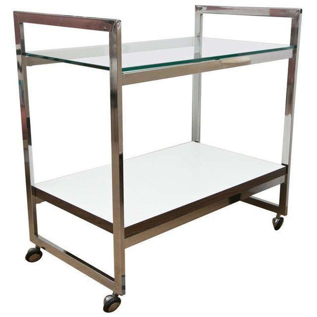 Milo Baughman Silver Bar Cart