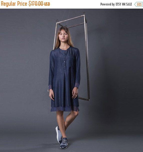 Black Friday Denim Shirt Dress Blue Midi By Pazitkeidardesign
