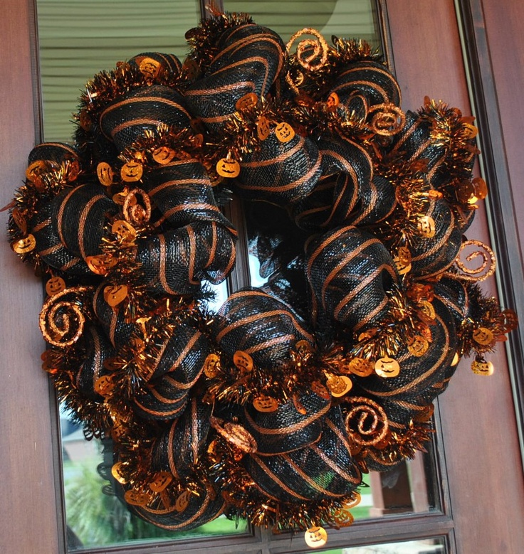 halloween wreaths | Pumpkin Mesh Halloween Wreath by AnotherSpecialOccasi on Etsy