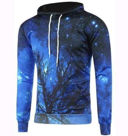 3D branch galaxy pullover hoodie for teenage guys plus size