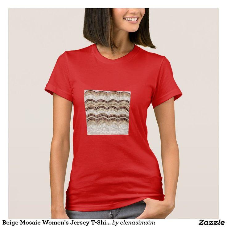 Beige Mosaic Women's Jersey T-Shirt