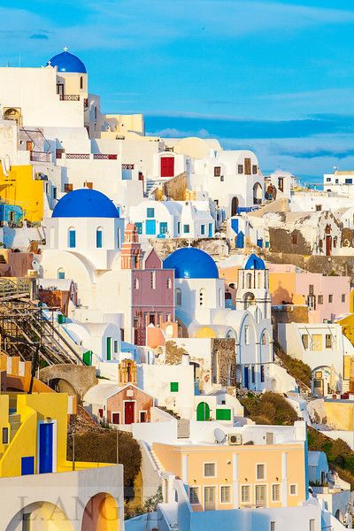Santorini; Greece; Aegean Sea, Oia town, blue church, sunset