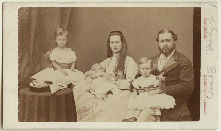 Children of Alexandra of Britain - Life at Sandringham - 1864-69 | Glucksburg. Princess Alexandra, Prince Edward and their daugthers Princesses Louise, Maud and Victoria -1869