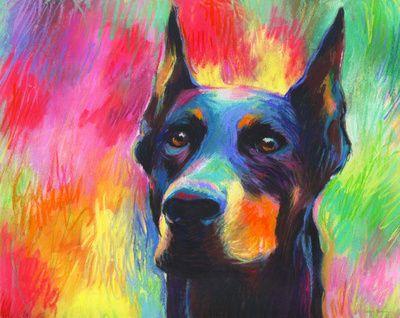 Colorful Impressionistic Doberman Pincher dog portrait prints Svetlana Novikova Art Print