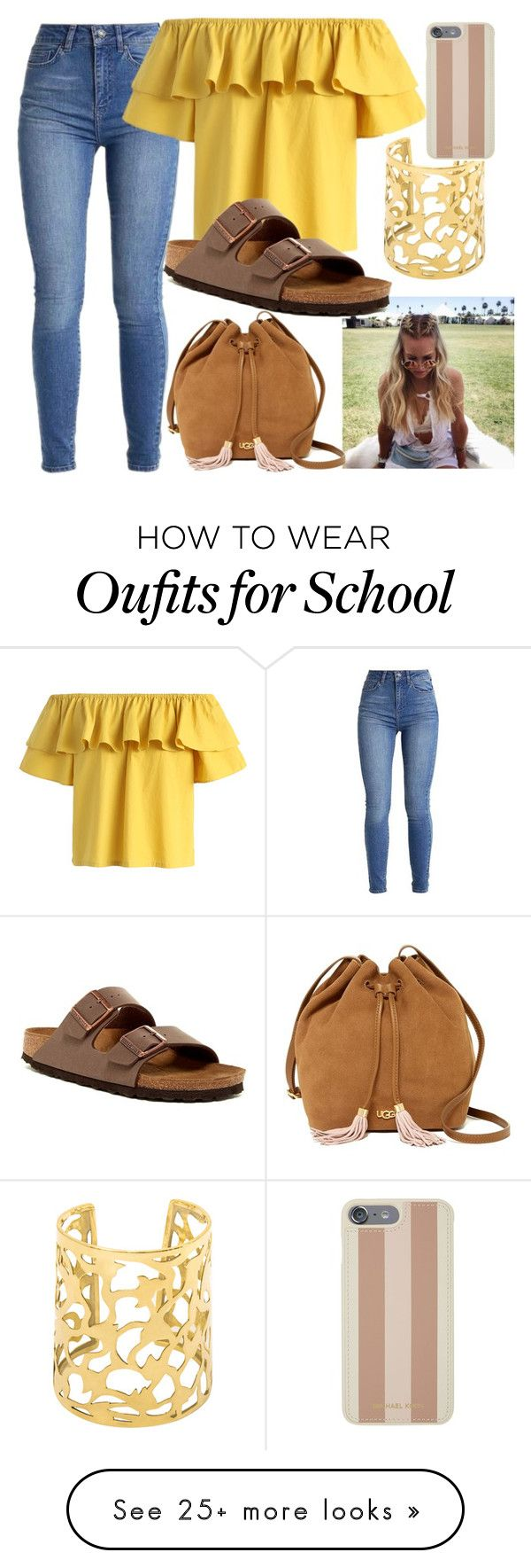 """Ready For School "" by shamelessmya on Polyvore featuring Chicwish, Birkenstock, UGG and Michael Kors"