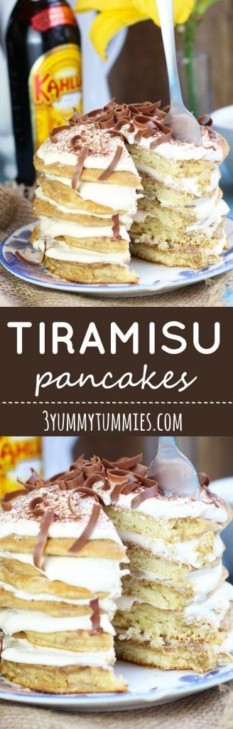 Give your pancakes a serious upgrade with these Tiramisu pancakes with mascarpone filling and plenty of Kahlua!