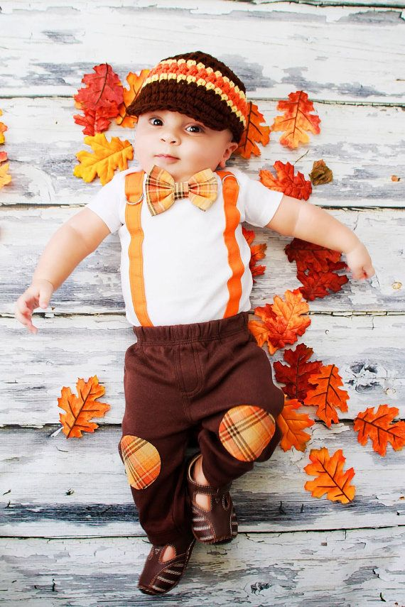 New Baby Boy Tie Onesie with Suspenders and Bowtie. Thanksgiving Fall Harvest Plaid.  Fall Photo Prop, Christmas Pictures on Etsy, $19.00