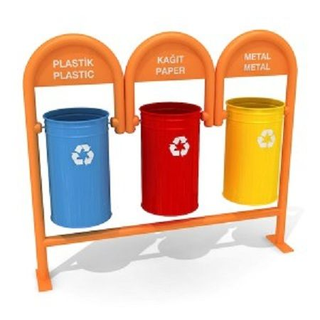 VAASA Outdoor metallic recycling bins for waste separation 3x35L Similar with VAASA, this model comes in a variety of colors and combinations. It can be delivered in 1,2,3, or even more bins for more complex waste separation requirements. The frame is easily fixed into the ground. Customized colors and labels for easy waste sorting. #interior #decoration #architecture #design http://www.urbaniere.com/shop/vaasa-outdoor-metallic-recycling-bins-for-waste-separation-3x35l/
