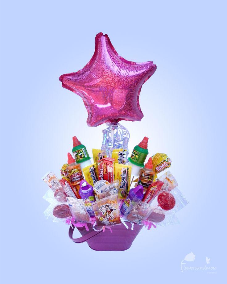 canastas de dulces y globos
