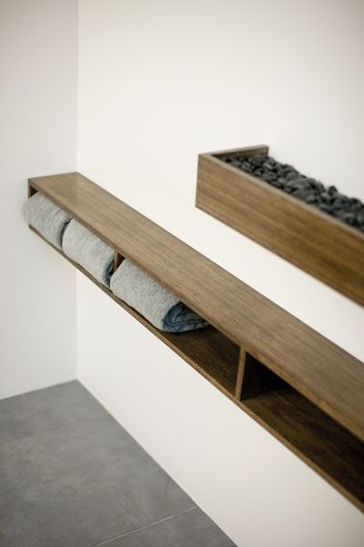 Shelf like this by bath, near floor, wider on bottom for access???