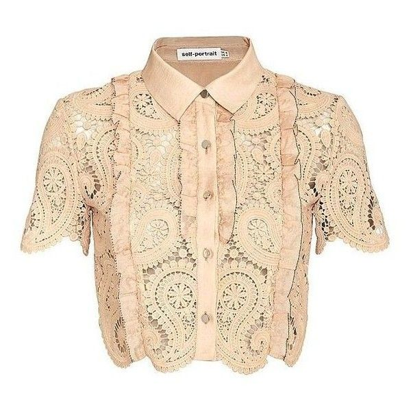 Self Portrait Paisley Lace Crop Blouse ❤ liked on Polyvore featuring tops, blouses, short sleeve lace top, short-sleeve blouse, beige top, short sleeve lace blouse and short sleeve tops