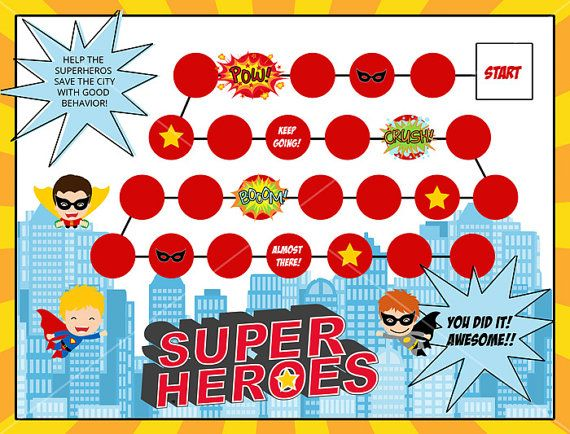 Super Heroes printable rewards chart by Key Lime