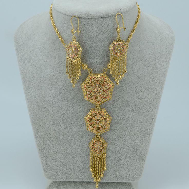 62CM Arab long necklace earrings set women Gold Plated Middle Eastern Jewelry Egypt/Sudan/Nigeria/Ethiopian Jewelry #002612