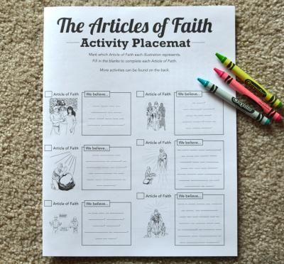 Articles of Faith Activity Placemat-- great to have in restaurants or during sacrament! -LatterdayVillage